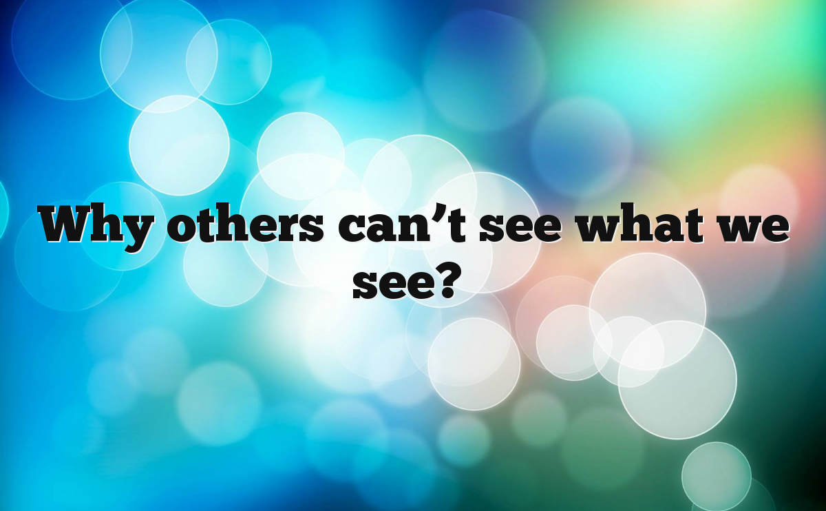 Why others can't see what we see?