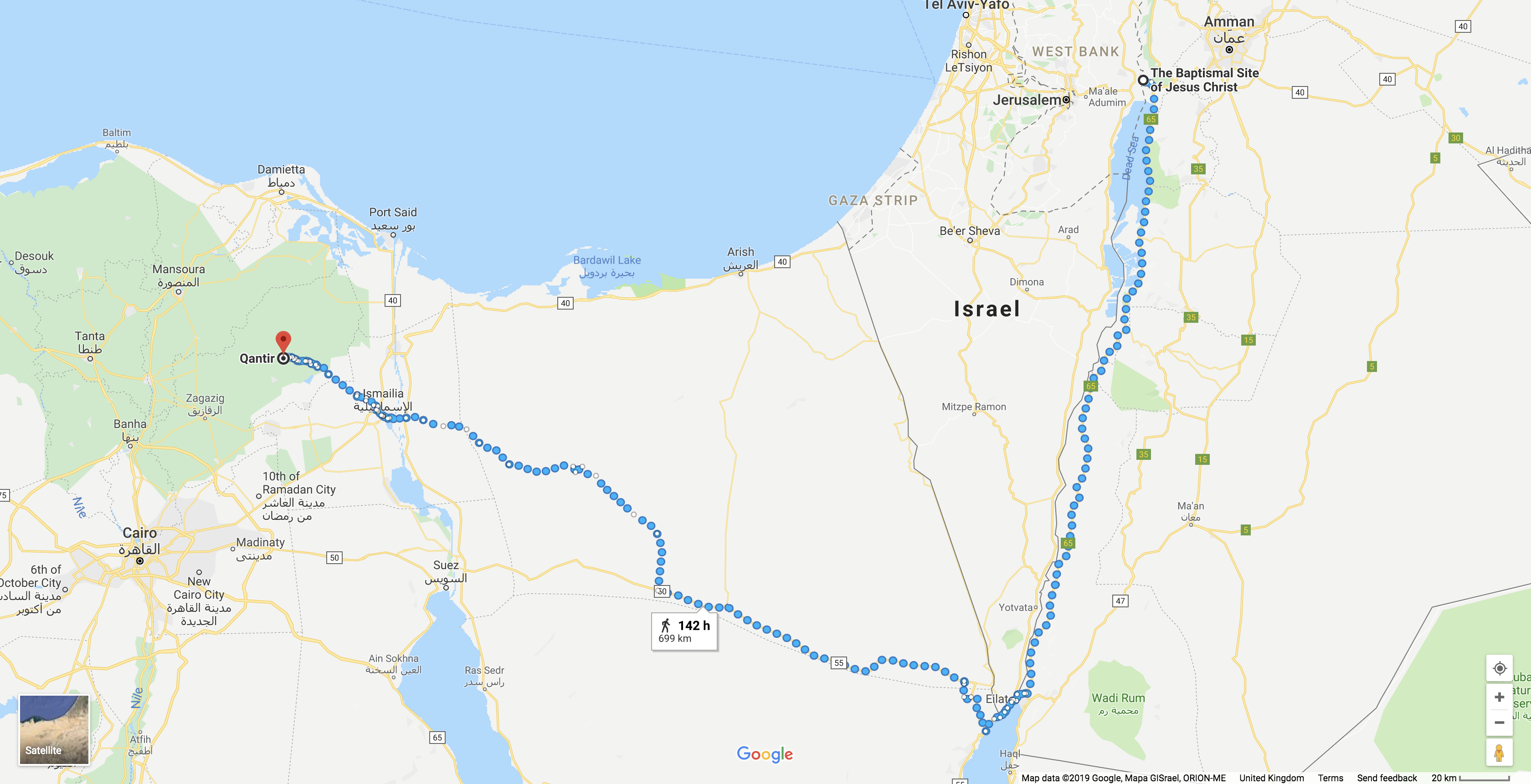 Google Maps Israelites Wilderness Journey Suggestion